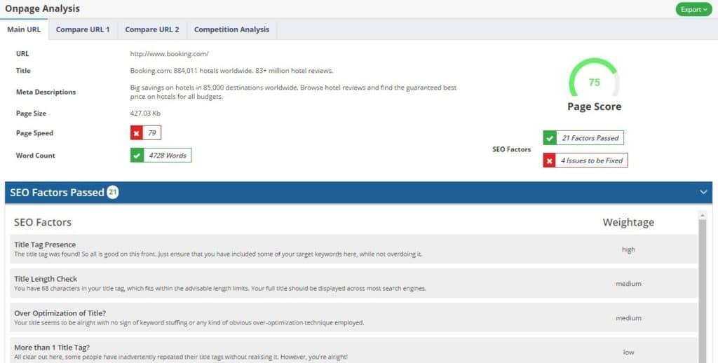 onpage analysis seo proposal
