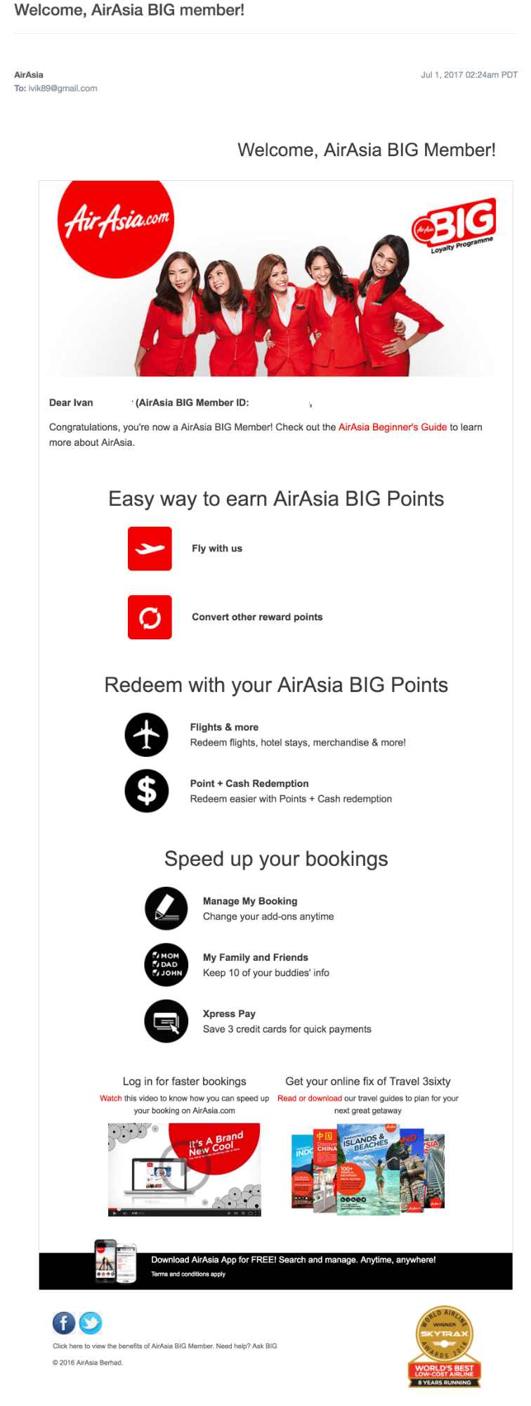 Air Asia Welcome Email