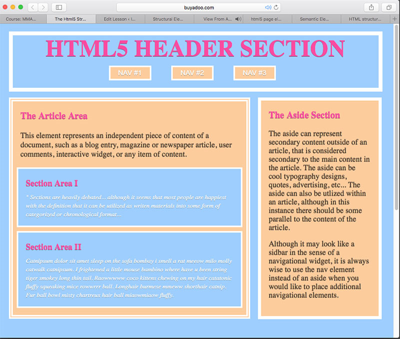 HTML5 Header Section