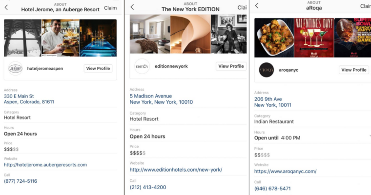 Instagram Local Business Profile