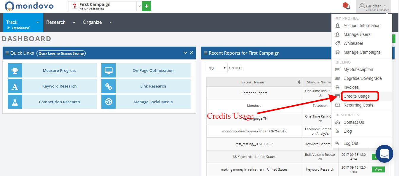 Credits Usage