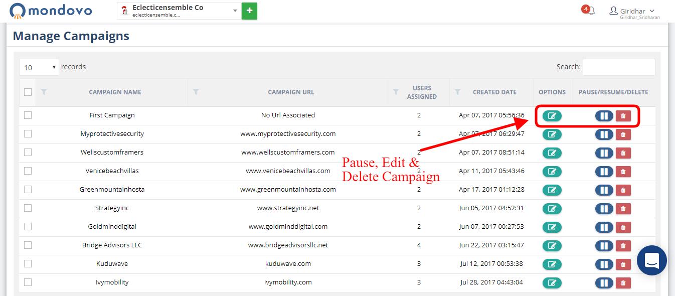 Managing/Delete Campaigns