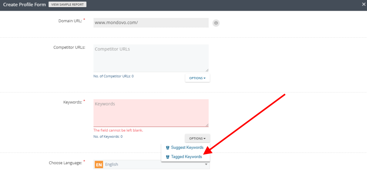 Tagged Keywords Rank Tracker