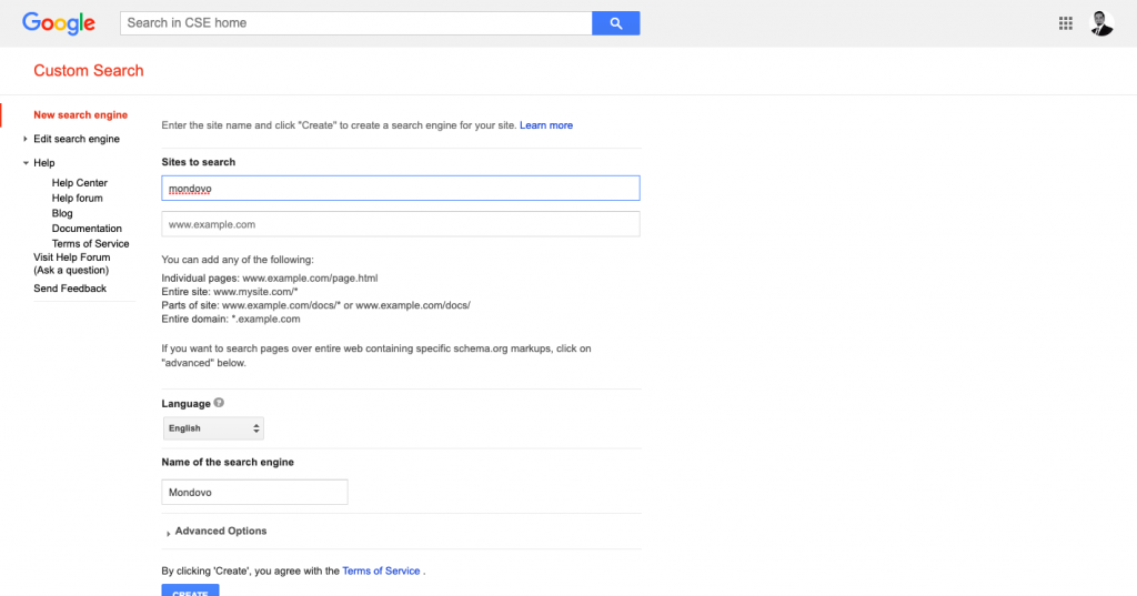 Google Custom Search Engine Option