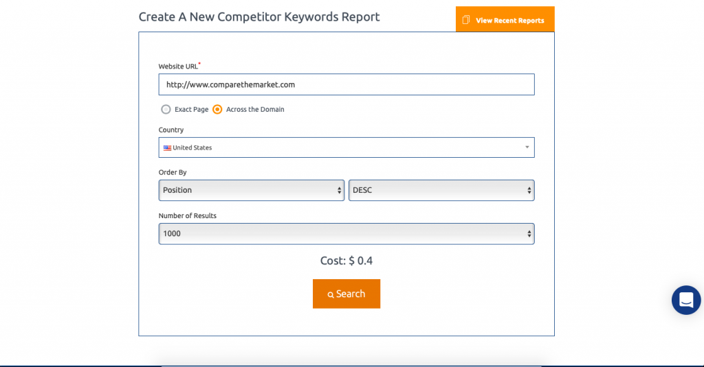 Mondovo Competitor Keywords Tool - Form