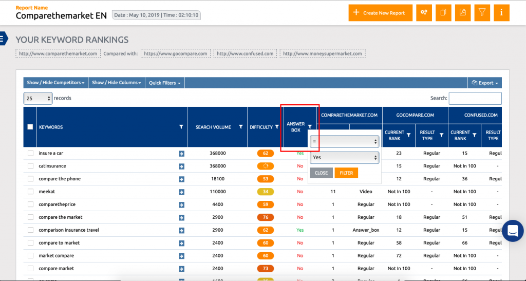 On-Demand Rank Check Answer Box filter
